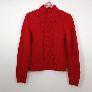 Banana Republic Wool Cable Knit Sweater Red Large